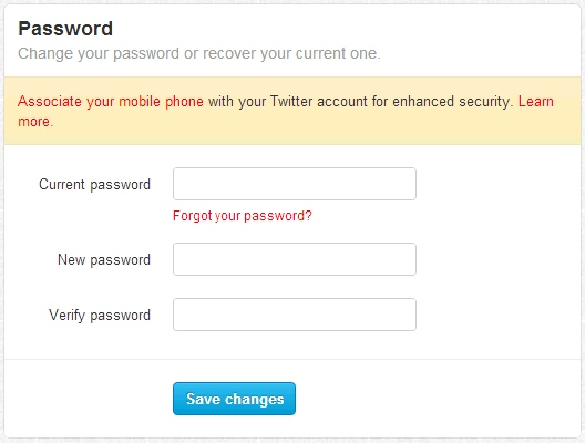 Reset twitter password